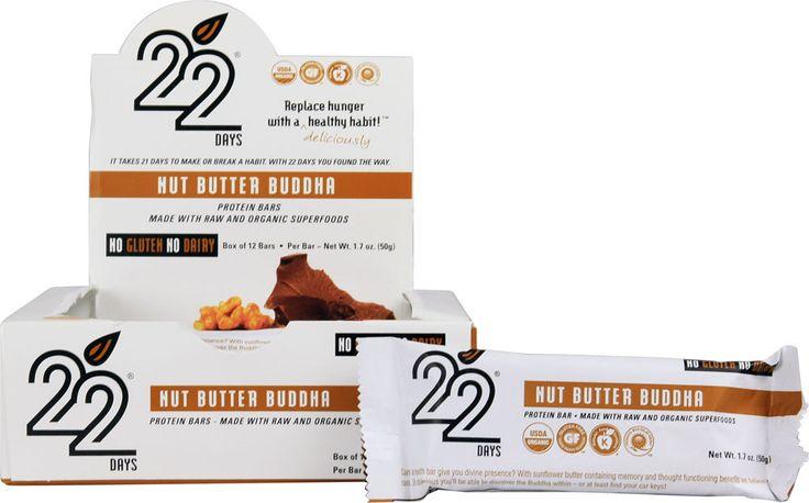 22 Days Nutrition Organic Protein Bars Gluten Free Nut Butter Buddha