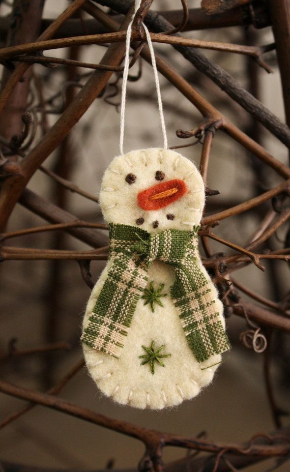 tiny snowman felt brooch or ornament handmade by urbanpaisley