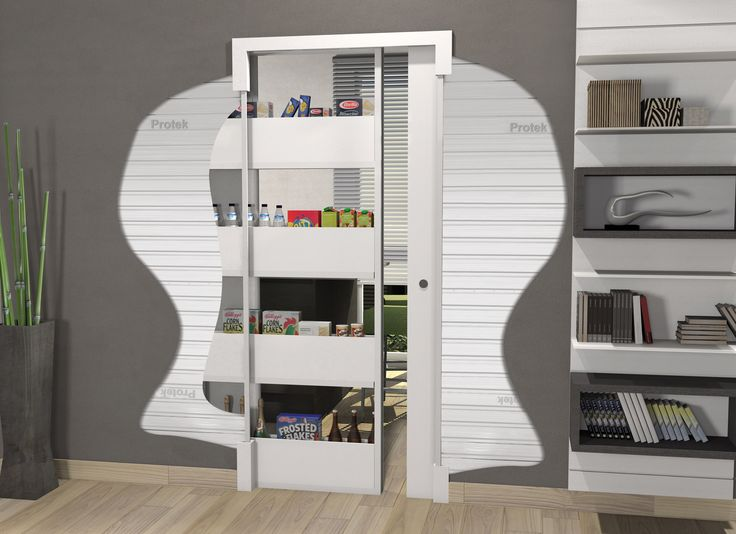 Protek® has realized and patented a new storage pocket frame for sliding doors to create more space in your homes where it didn't exist: Bigfoot® is the frame that host on one side a shoe or a store cupboard, that slides and completely disappears into the wall and on the other side allows the fluent and silent sliding of a standard door panel.The Bigfoot® frame can be combined with a standard one for a glass or wooden door panel sliding. The new food store in your kitchen
