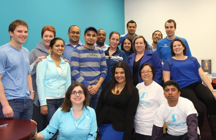Canadian Springfree team in blue for Autism Awareness Month. Did you know that AblePlay deemed Springfree's trampolines helpful in physical, cognitive, & communicative therapy?