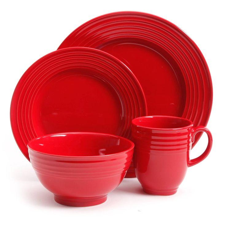 Gibson Home Stanza 16 Piece Stoneware Dinnerware Set, Red
