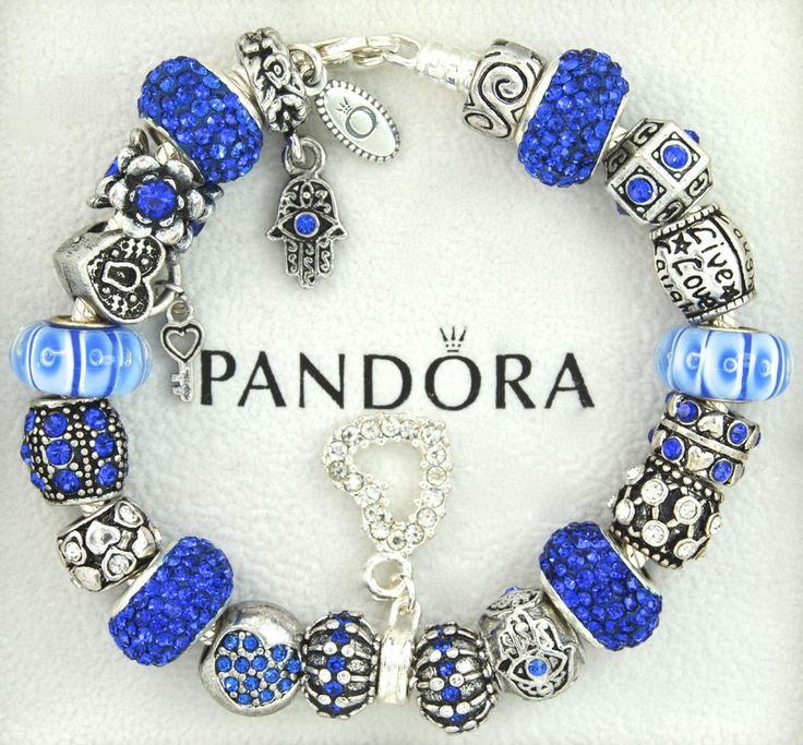 Authentic Pandora Silver Charm Bracelet With Charms Blue