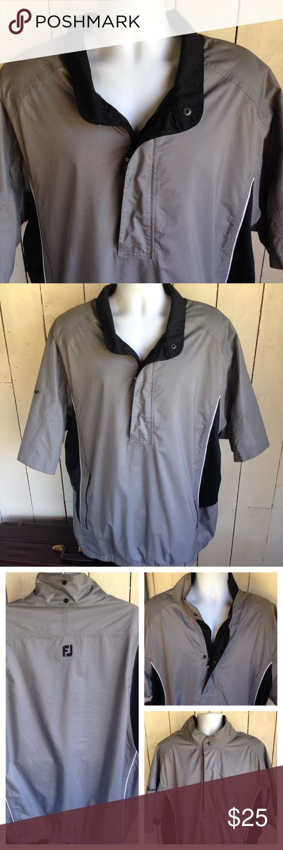 DRYJOYS,FOITJOYS Titleist Golf Jacket SIZE XXL Stay dry on the golf course in this DRYJOYS golf jacket. Elastic waist, Short Sleeve, 2 pockets that zip shut. Small 1 cm rip where it got caught by a branch - see 4th picture. Otherwise in very good condition. Please let me know if you have any questions. Footjoys Jackets & Coats Windbreakers
