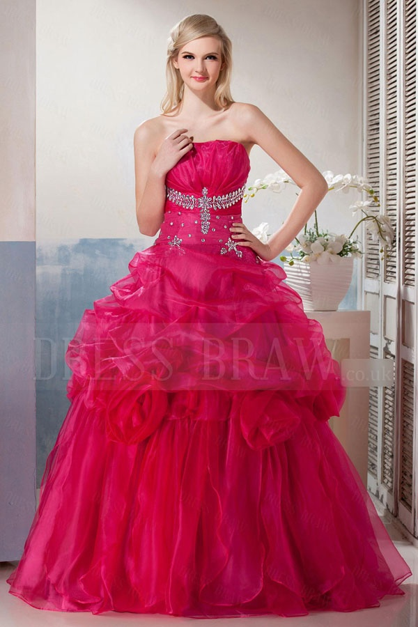 Poofy bright pink grad dress