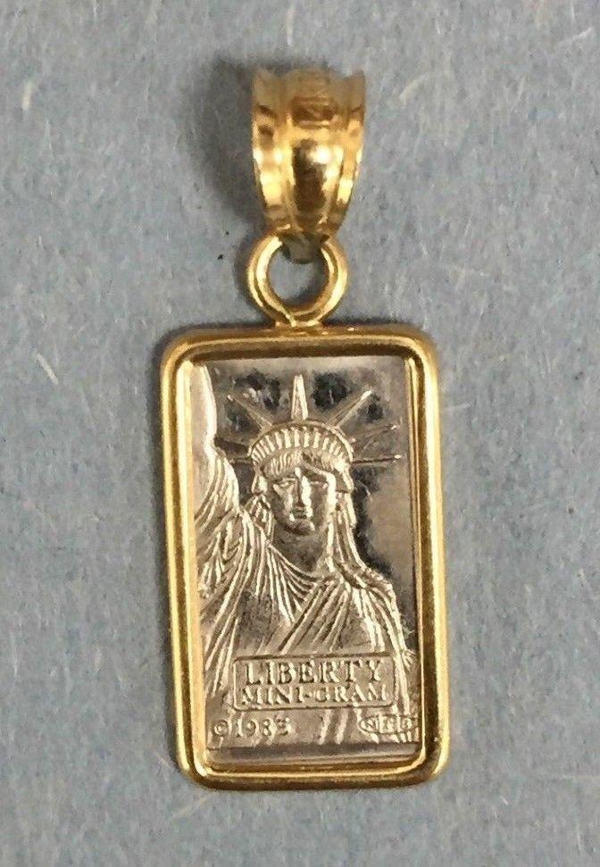 1 Gram Suisse 1985 Liberty Platinum Bar W 14k Gold Bezel 2
