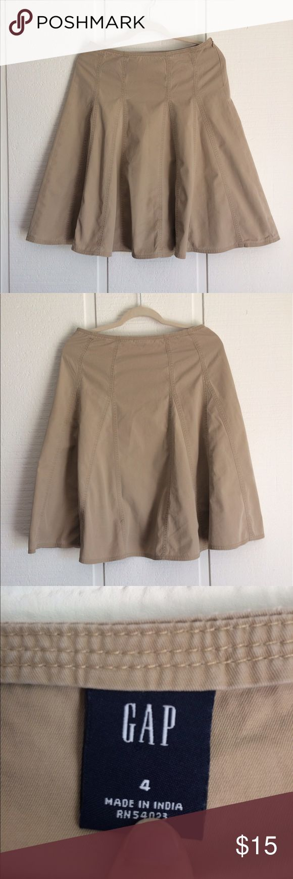 Tan Gap Skirt This skirt is in great shape and is a lovely versatile tan. Flares at the bottom. Super cute for all seasons! GAP Skirts