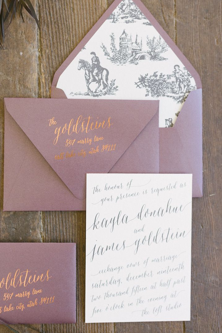 Romantic and elegant calligraphy wedding invitation with French toile inspired envelope liners, plum envelopes, with copper edge painting and accents – by Twelve30 Creative
