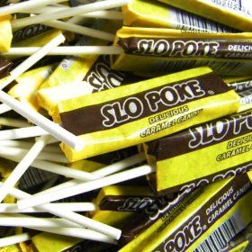 Before it became a Pokemon character, Slo Poke was a caramel sucker produced by the Gilliam Candy Company. Now, it is a true sucker, as opposed to a lollipop (though they are interchangeable words in our diction, they are not necessarily the same thing).