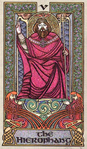 V. The Hierophant - Celtic Tarot by Courtney Davis & Helena Paterson