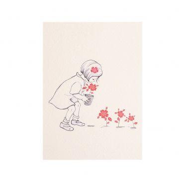 Kaart, meisje met bloemen
