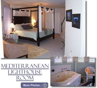 Perfect for a Branson honeymoon or Branson anniversary celebration, the Mediterranean Lighthouse Room is romance itself.