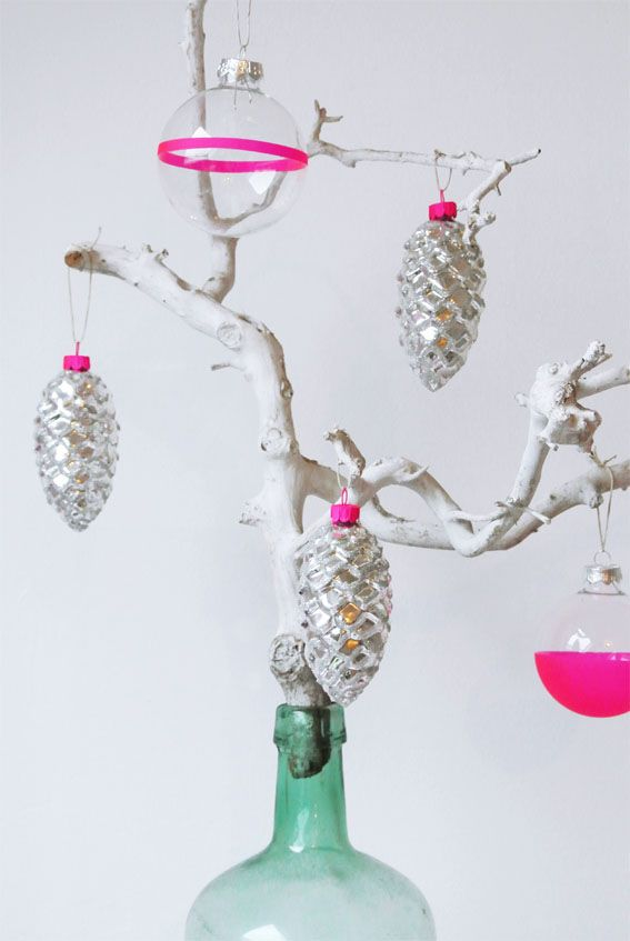 Neon-Tipped Pinecones and Baubles | 62 Impossibly Adorable Ways To Decorate This Christmas