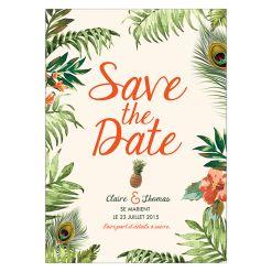Mariage exotique, thème tropical. Save the date palmier, ananas, calligraphie et plume de paon.