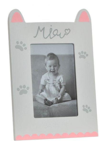 Marco de fotos de madera en forma de gato con decoración rosa y blanco ideal para la decoración del hogar.