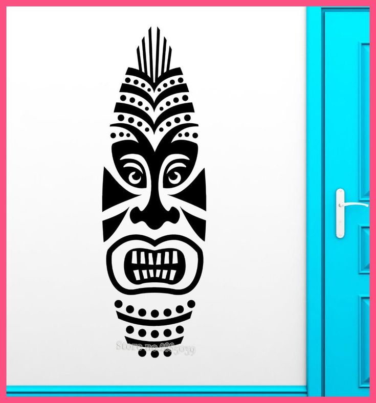 tiki mask wall sticker removable vinyl decal africa style on wall stickers for hall id=31779