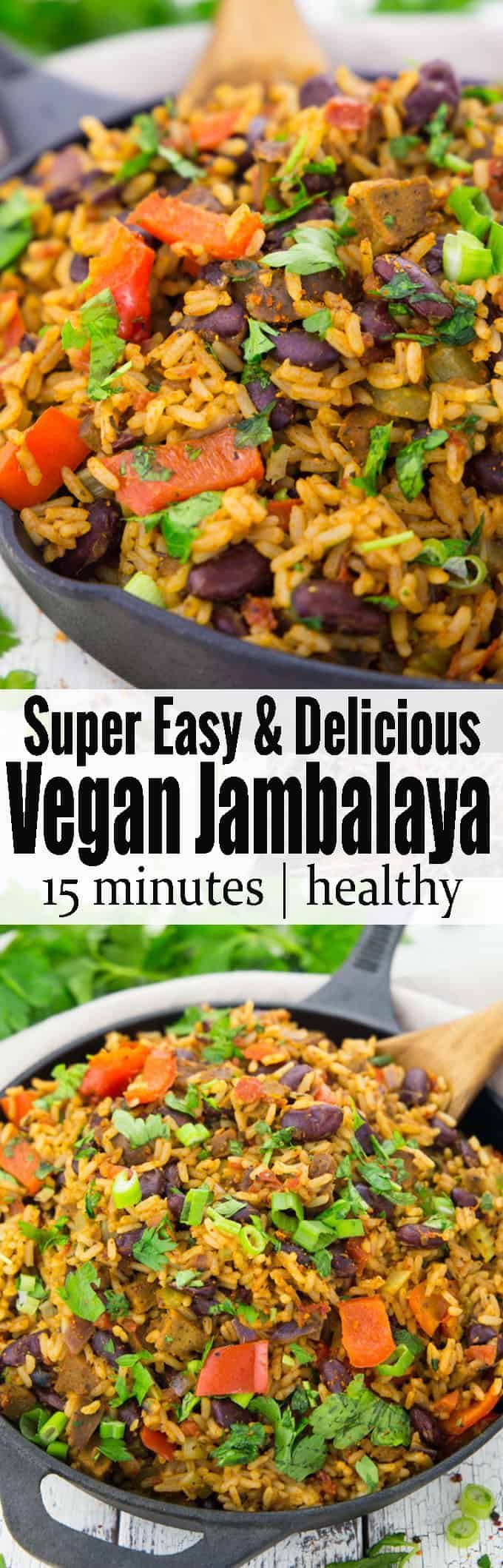 This vegan jambalaya makes the perfect vegan dinner! It's super easy to make and so delicious. It has been one of my favorite vegetarian recipes or recipes with rice for a long time. Find more vegan recipes at veganheaven.org!