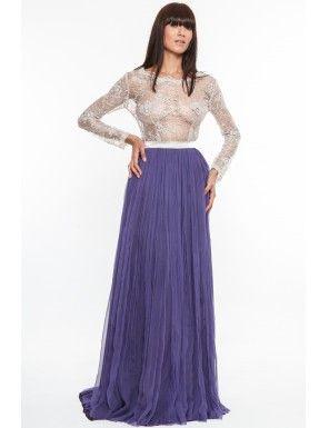 Rochie lunga din matase naturala si dantela, Nicole Enea/Long dress  (silk and lace)