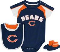 Chicago Bears Newborn Navy Team Creeper, Bib, Bootie Set