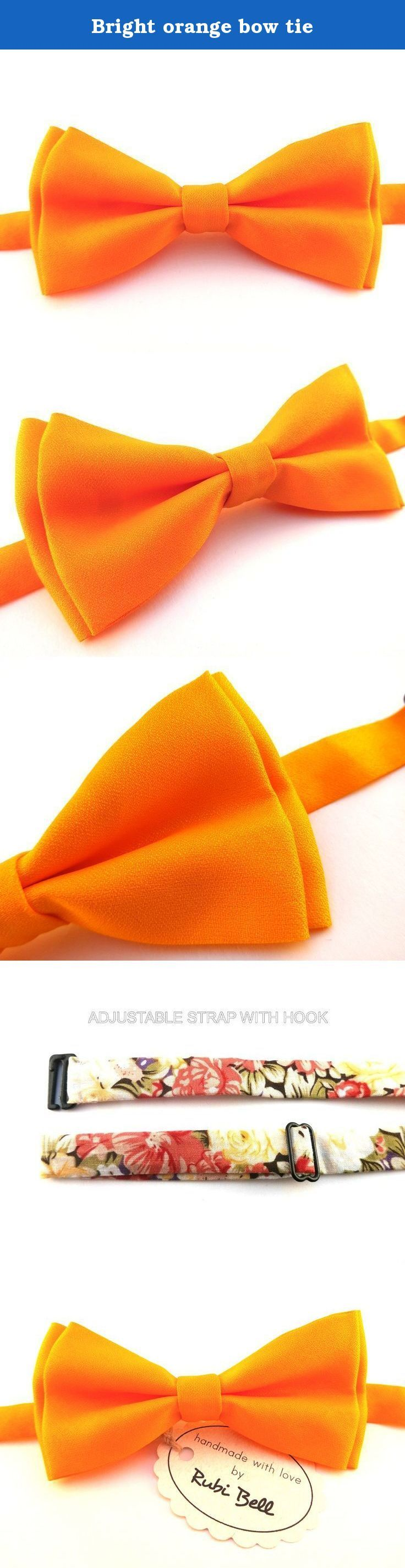 Bright orange bow tie. >>> Size of the bow - Width: 6 cm / 2,36 inches - Length: 12 cm / 4,72 inches >>> Other details - Pre-tied, attached to an adjustable strap (one size fits all) - Care: Dry clean - Comes packaged in a box with logo. >>> Shipping times Europe - 3 - 7 days USA - approx. 2 weeks Rest of the world - 2 - 3 weeks Each package dispatched with a tracking number. Please allow 1-3 days for order processing before item is dispatched. Please contact us, if you prefer some other...