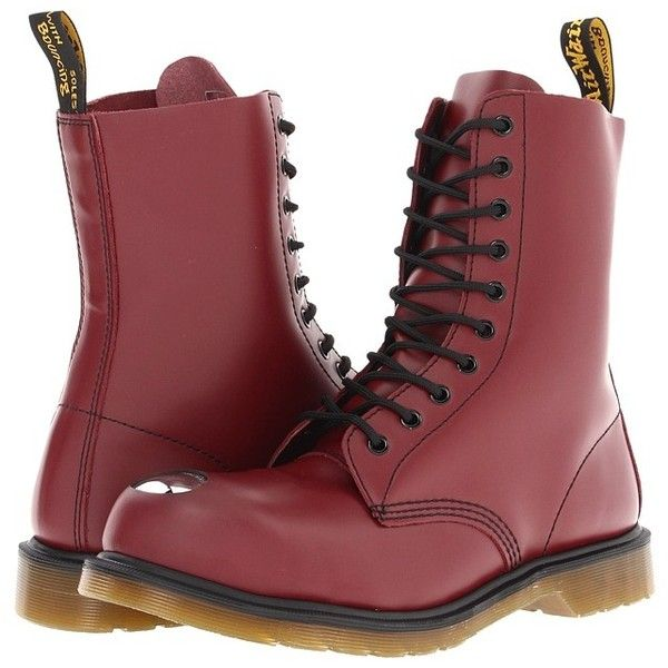 Dr. Martens Maine Steel Toe Cap Boot Lace-up Boots (89 AUD) ❤ liked on Polyvore featuring shoes, boots, ankle booties, red, laced booties, red ankle booties, dr martens boots, steel toe cap boots and lace up boots