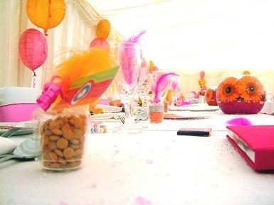 Bespoke designed wedding.  Fuschia pink and orange table accessories by Fuschia for Creative Director Nicola Briginshaw's wedding.