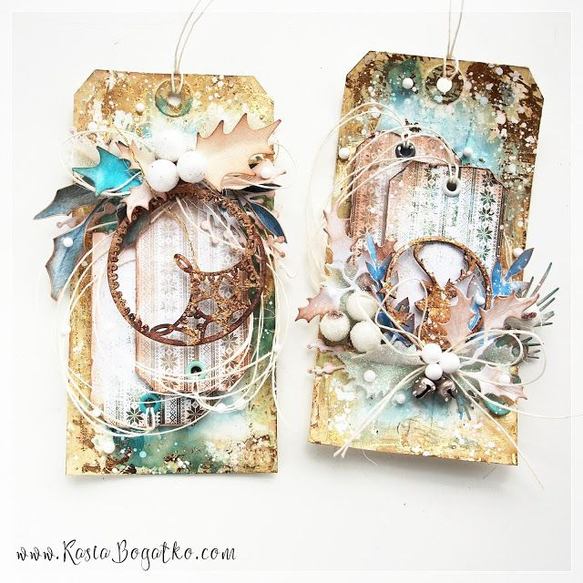 Christmas tags with gold - by Kasia Bogatko