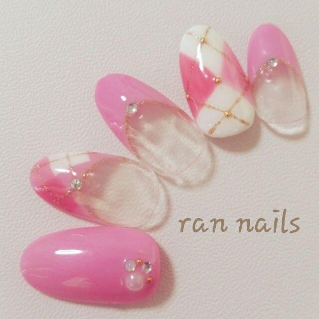 ネイル 画像 rannails  1099748 ピンク フレンチ 秋 ソフトジェル ハンド