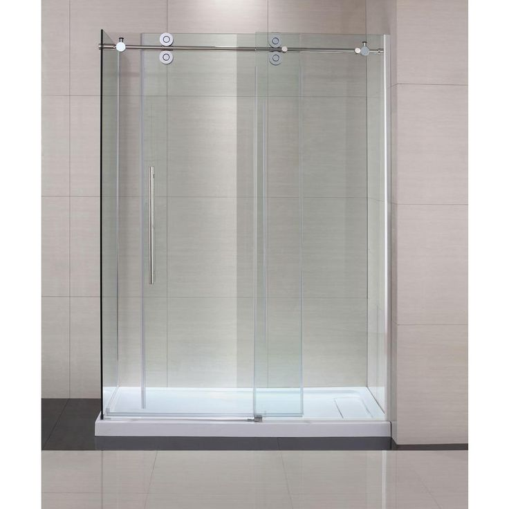 Attractive Semi Framed Shower Enclosure With Sliding Glass Shower Door In Chrome And  Clear Glass