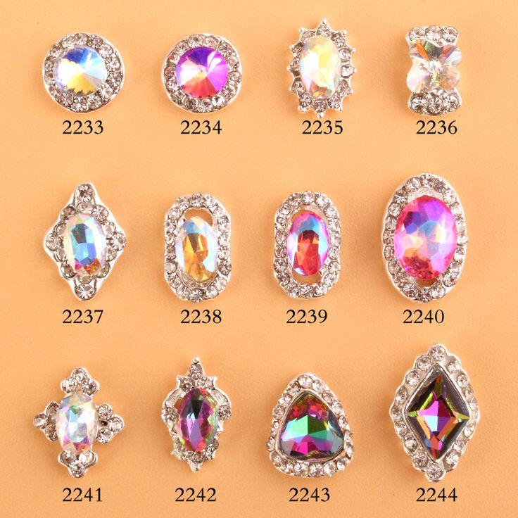 200pcs Aurora Bling Rhinestone NLot Of 3D Clear Alloy Rhinestone Bow Tie Nail Art Slices DIY Decorations 133-144