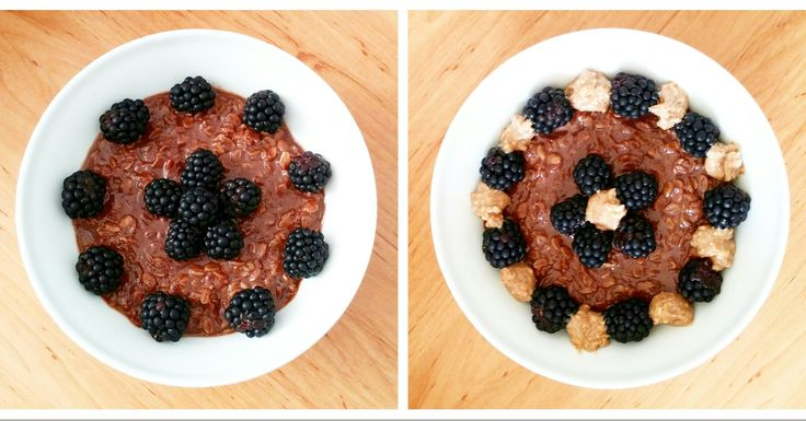Chocolate protein oatmeal with blackberries and peanut butter.