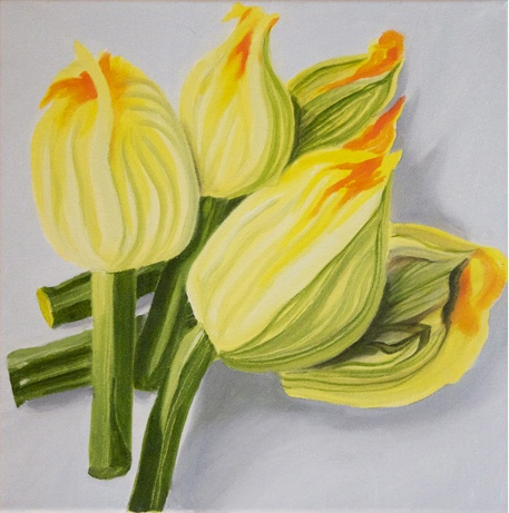 'Courgette flowers' oil on canvas, 300x300mm