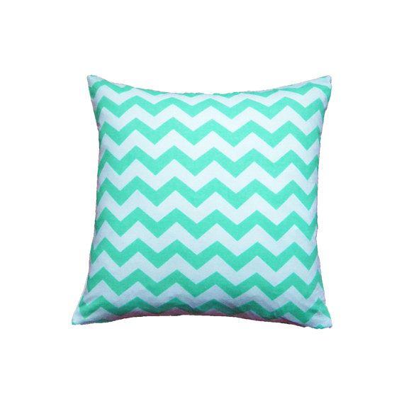 Green Chevron Cushion Cover, Green Pillow Cover, Green Throw Pillow, Mint Green Cushion, Scandinavian Cushion, Zig Zag Pillow, 16x16 Cushion