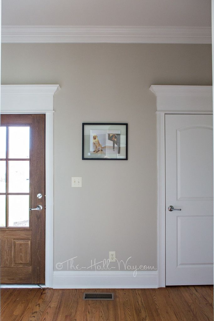 Mud room with behr sculptor clay and silky white trim for Farmhouse paint colors interior