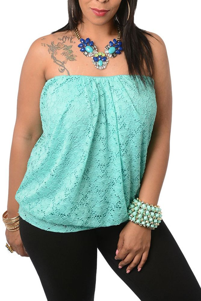 Available at www.dhstyles.com Aqua Plus Size Crocheted Lace Tube Top