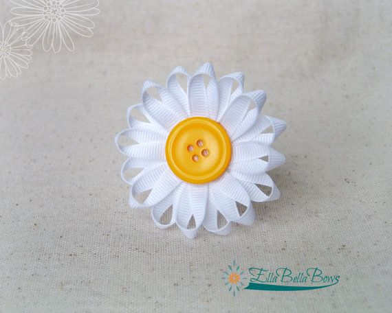 Daisy Flower Ribbon Sculpture Hair Clip button by EllaBellaBowsWI