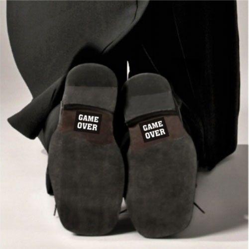 """Bryllup gadget - bryllup stickers klistermærker til sko """"Game Over"""""""