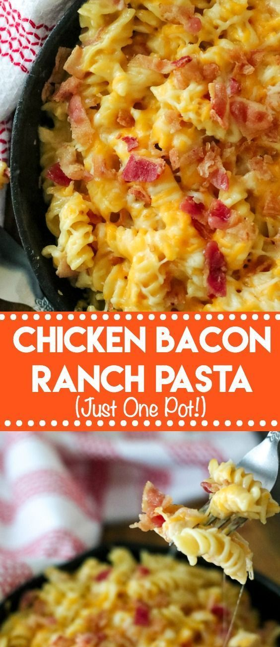 Chicken Bacon Ranch Pasta is a one pot wonder full of all your favorite things like bacon, cheese, ranch and pasta!! A real crowd pleaser! #easydinner #onepot #chickendinner #chickenrecipes #ranch #bacon #dinner