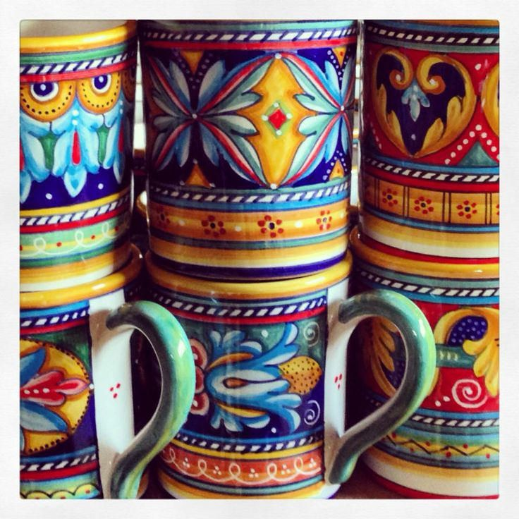Those colors! Bonechi Imports Antico Geometrico mugs from Deruta - Italian pottery from www.bonechiimports.com