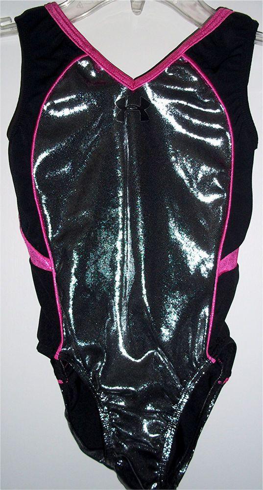 GK Elite Under Armour Gymnastics Leotard Steel Mystique Black Hot Pink CM Medium #GKElite