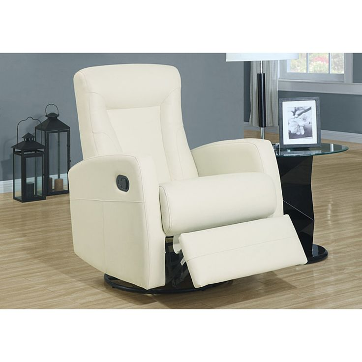 ivory bonded leather swivel rocker recliner