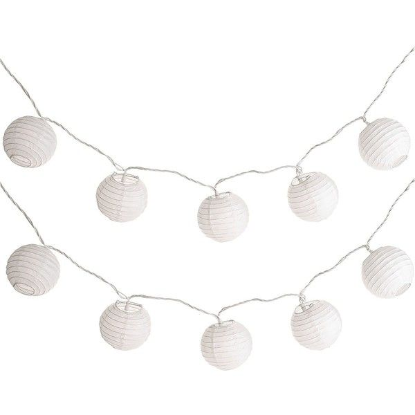 Pier 1 Imports LED White Lantern String Lights ($15) ❤ liked on Polyvore featuring home, lighting, light string, battery powered lights, string light, battery operated lights and battery lights
