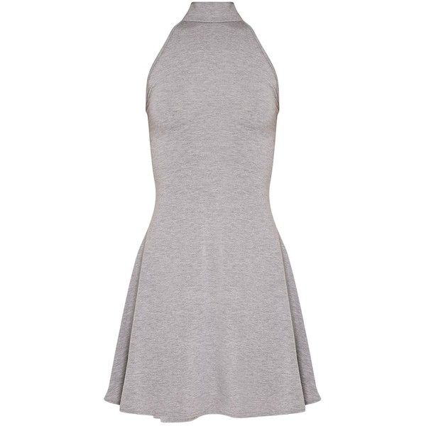 Basic Black High Neck Jersey Skater Dress ($8.27) ❤ liked on Polyvore featuring dresses, dresses short, skater dresses, high neckline dress, jersey knit dress, high-neck dress and jersey dress
