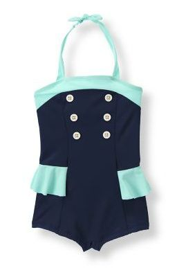 Double-Button Swimsuit from Janie & Jack (Level 1, South): This halter style, retro-glam suit screams 'get me on a plane to San Tropez.' Especially when paired with oversized sunnies.