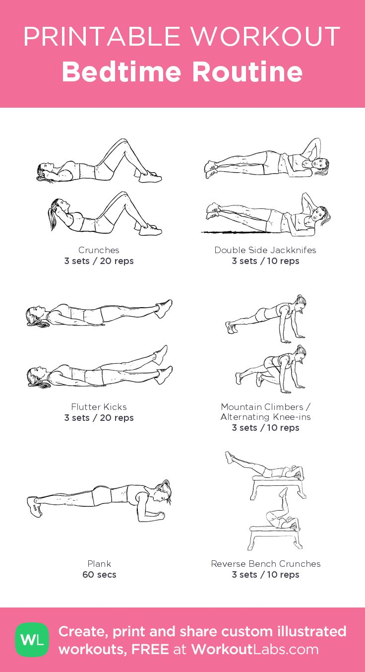 Bedtime Routine – illustrated exercise plan created at WorkoutLabs.com • Click for a printable PDF and to build your own #customworkout