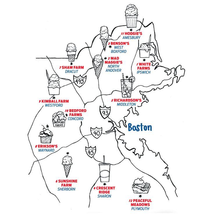 Map: Ice Cream Road Trip - The 12 Best Greater Boston Ice Cream Stands | Boston Magazine