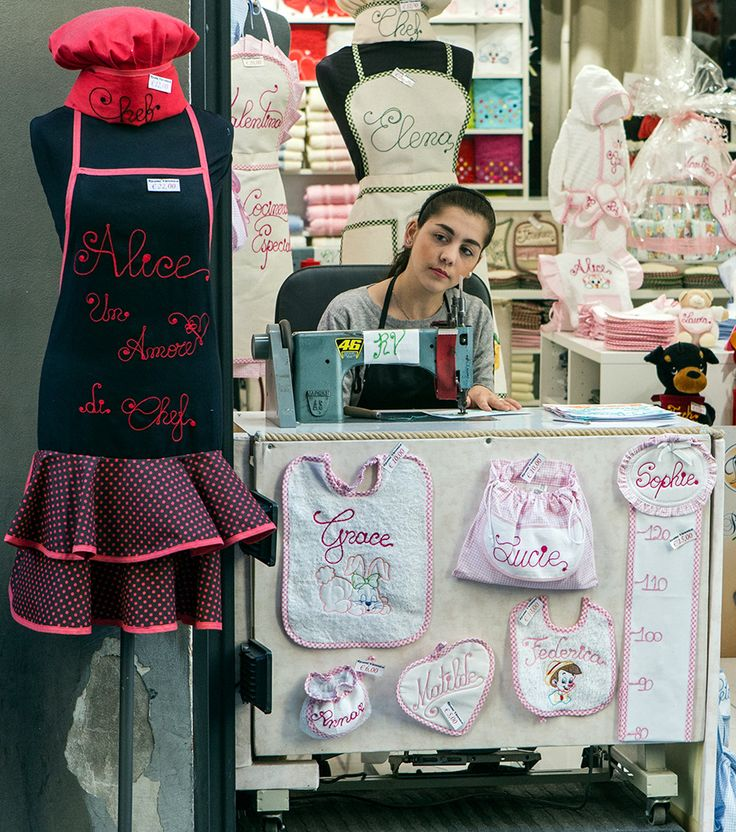 Girl sewing in Florence. By Richard Farland.
