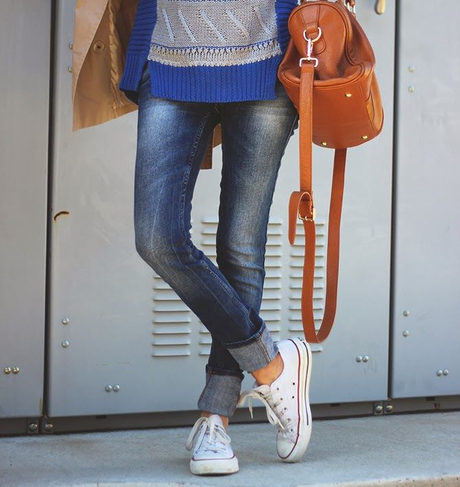 Cotton cuffed jeans AND canvas converse. The whole outfit is just fab.