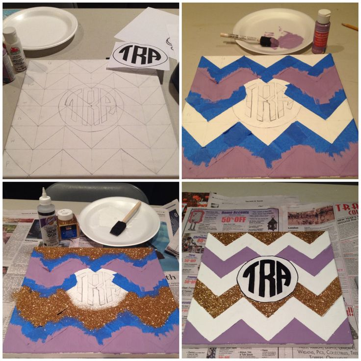 DIY paint and glitter chevron monogram canvas, simple tutorial