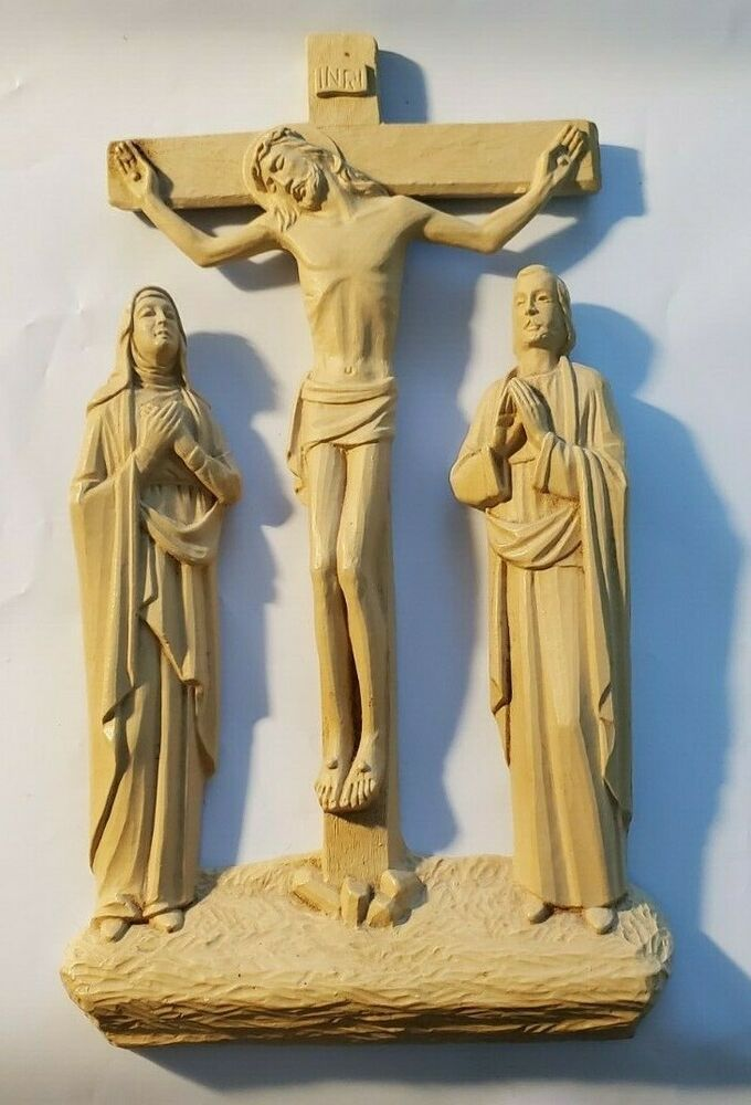 Catholic Crucifix Jesus Crucifixion With St John Virgin Mary Inri Wall Cross In 2020 Catholic Crucifix Crucifixion Of Jesus Crucifix Jesus