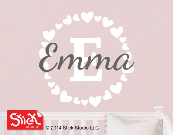Baby girl wall decal Personalized name wall by StickStudioLLC